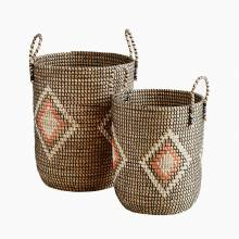Large Seagrass Orange Basket With Handles