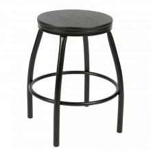 Nom Black Metal Stool Round Wood Top 4 Legs