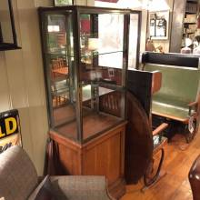 Oak Bottom Display Cabinet With Glass Sides And Door
