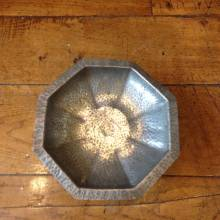 Octagonal Lion Pewter Decorative Dish With Pedestal Base