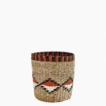 Small Wicker Bin Basket With Geometric Pattern