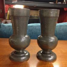 Pair Of Abbey Pewter Vases 158