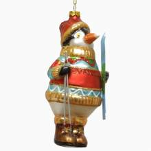 Penguin With Jumper And Skis Painted Glass Christmas Decoration