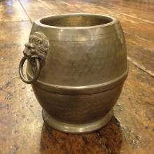 Round Pewter Caddy With Lion Handles And Lid Ellware