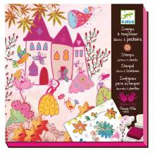 Princess Stamp Pattern and Stencil Art Set Djeco 6-10yrs.