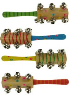 Painted Wooden Snazzy Bell Sticks Musical Instrument