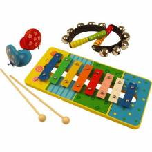 Wooden Music Set - Xylophone, Handbells and Castanets