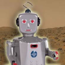 SPARKLING MIKE Sparking Robot Tin Toy. 20cm.
