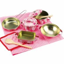 Steel Pink Flower Toy Cooking Set 9pc