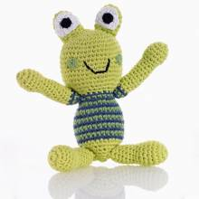 Green Frog Crochet Knitted Rattle 0+
