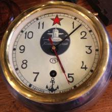 Russian Submarine Clock Polished Aluminium And Brass.