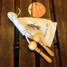 Vintage Style Wooden Skipping Rope In Cotton Bag