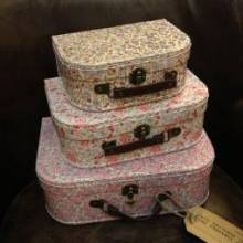 Small Floral Printed Cardboard Suitcase