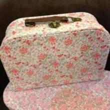 Medium Floral Printed Cardboard Suitcase