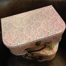 Large Floral Printed Cardboard Suitcase