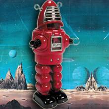 PLANET Robot Tin Toy Black Or Red. 28cm.
