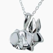 Bunny Rabbit Origami Necklace - Sterling Silver
