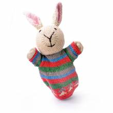 Rabbit - Hand Knitted Glove Puppet Organic Cotton