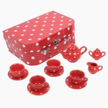 Red And White Spot Porcelain Tea Set In Case