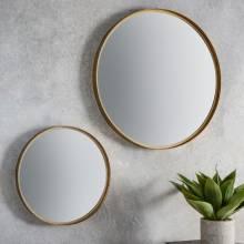 Round Metal Gold Leaf Effect Mirror 61cm x 61cm