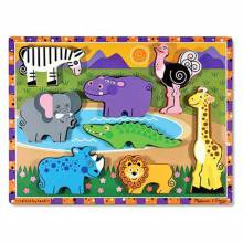 Safari Animals - Chunky Peg Puzzle By Melissa & Doug