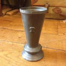 Slim Flared Pewter Vase With Decorative Detail