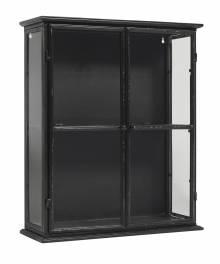 Small Black Glazed Metal Wall Cabinet With Glass 50x20x60cm