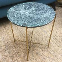 Small Circular Green Marble Table With Gold Legs