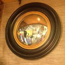 Small Round Ships Convex Mirror Black And Gold Frame D:40cm