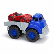 Flatbed Truck with Red Race Car - Green Toys Recycled Plastic 3+