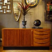 Mid-Century Danish Teak Sideboard With Tambour Door