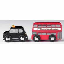 Small Wooden Double Decker Bus And Black Cab Pack