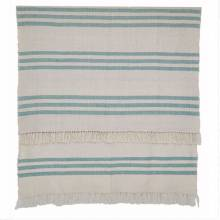 Teal Stripe - Blanket Throw Picnic Blanket - Recycled Bottle