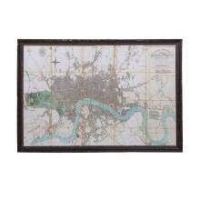 Giant Framed Map Of River Thames London Antiqued