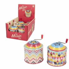Tin Tinkle Tonk Music Box With Retro Pattern 3+