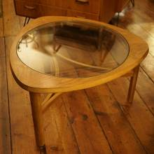 1960s Teak Triangular Coffee Table With Circular Glass Centre