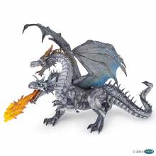 2 Headed Silver Dragon PAPO Fantasy Figure