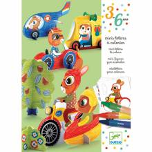 Vroom Vroom - Mini Totems To Colour By Djeco 3-6yrs