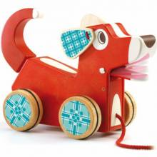 Woofy Dog Pull Along Toy With Sound By Djeco 18m+